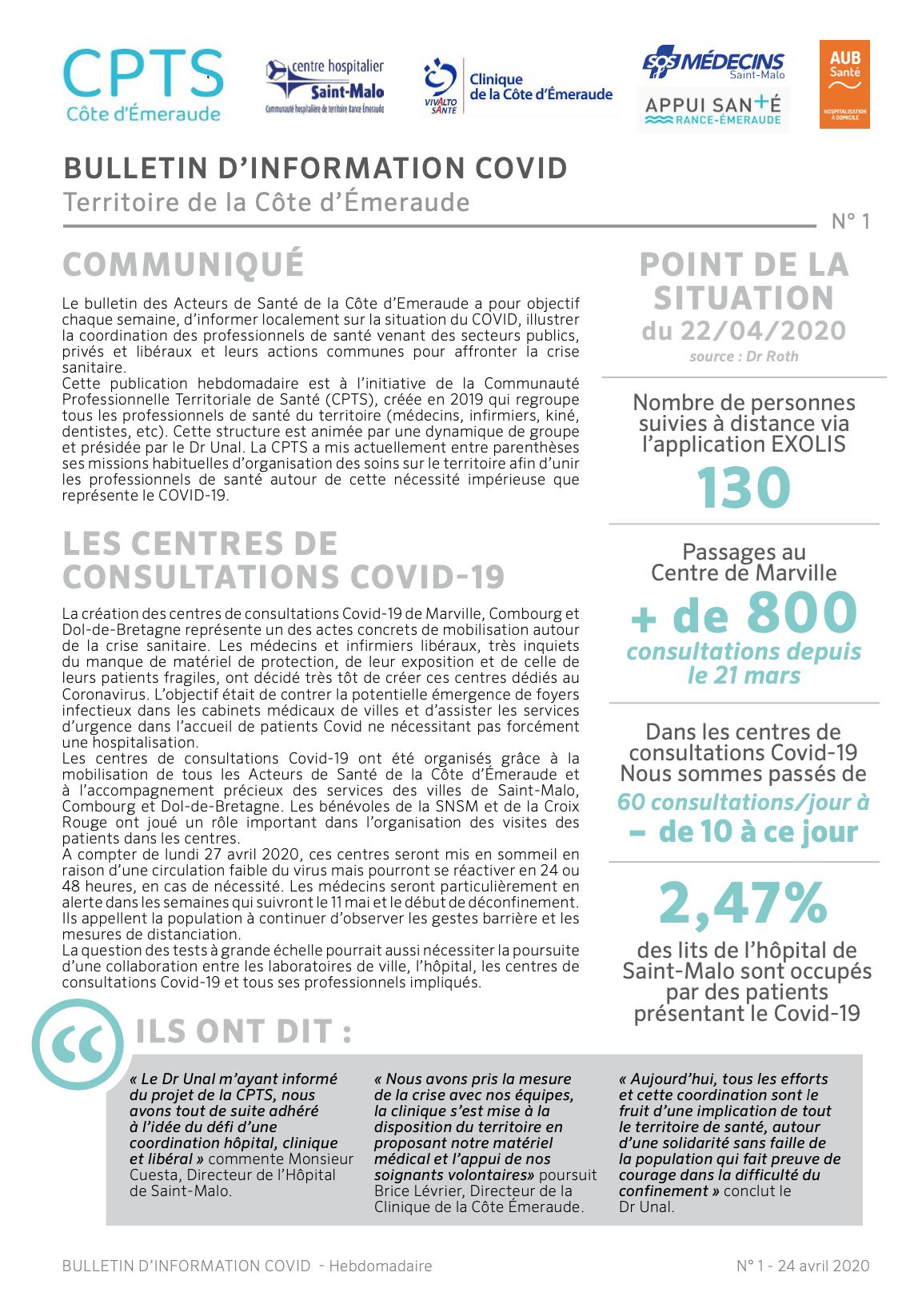 Bulletin d'information COVID sur le territoire de la Côte d'Émeraude
